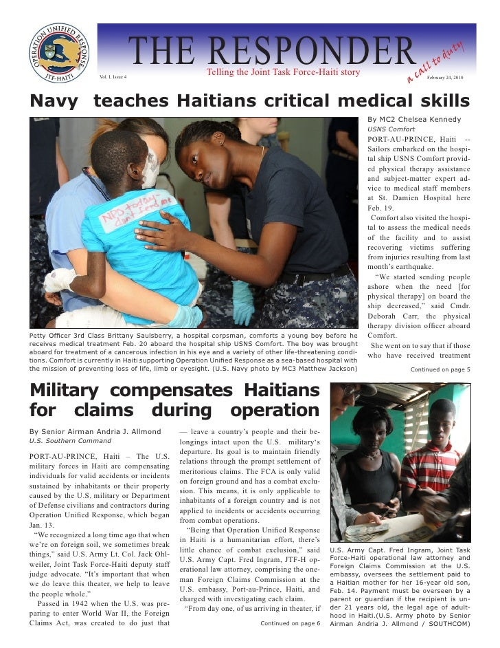 Vol. I, Issue 4                                         THE RESPONDER  Telling the Joint Task Force-Haiti story           ...