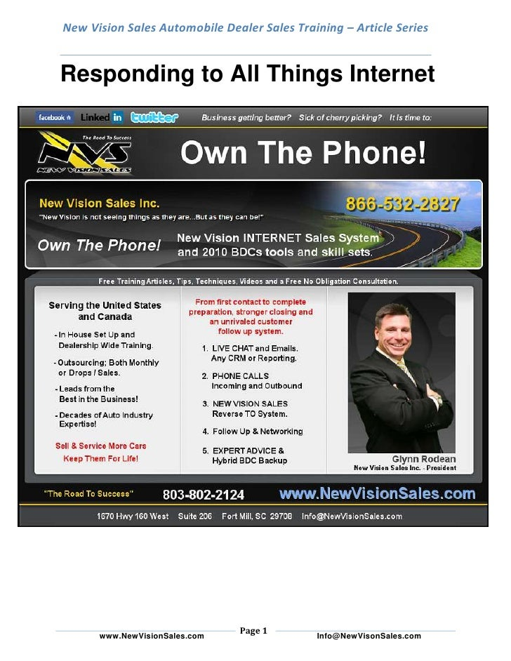 New Vision Sales Automobile Dealer Sales Training – Article SeriesResponding to All Things Internet<br />The Internet can ...