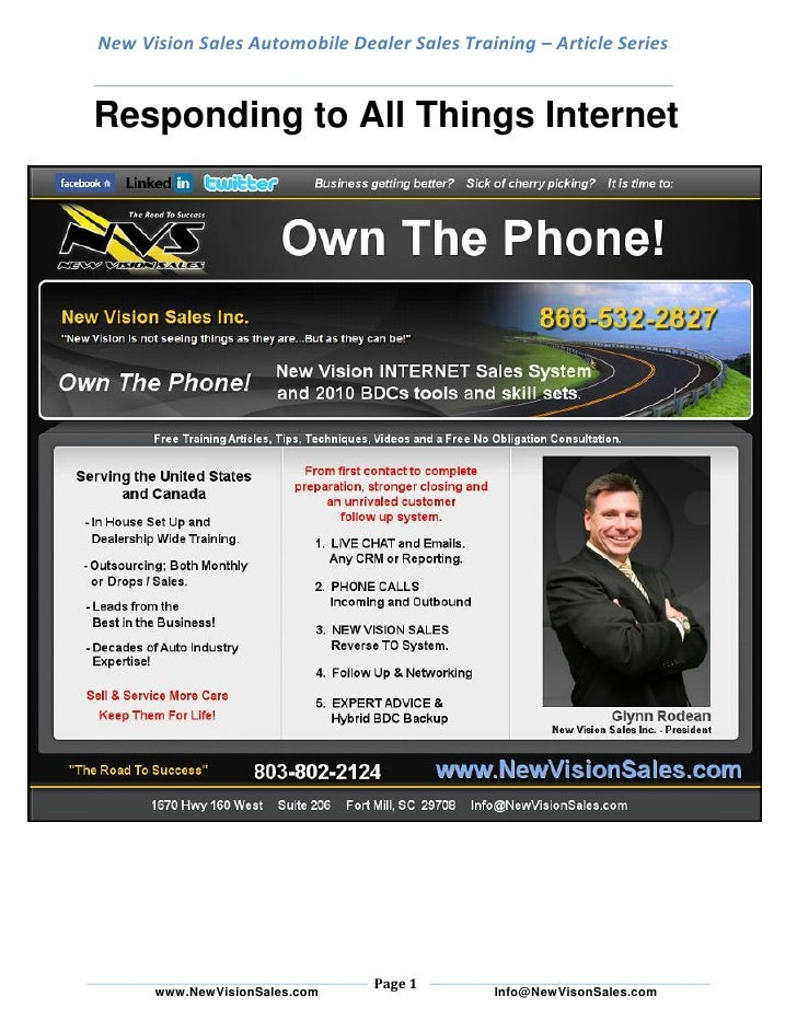 New Vision Sales Automobile Dealer Sales Training – Article Series   Responding to All Things Internet                    ...