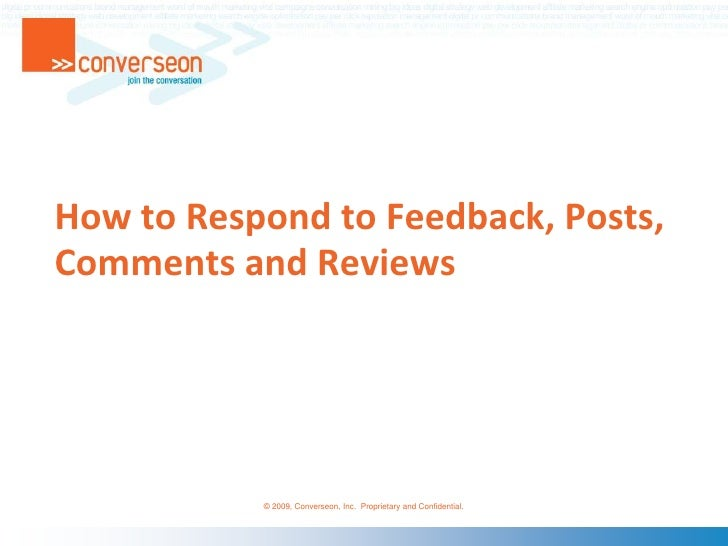 How to Respond to Feedback, Posts, Comments and Reviews<br />
