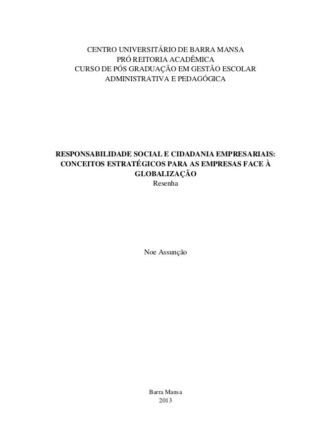 CENTRO UNIVERSITÁRIO DE BARRA MANSA PRÓ REITORIA ACADÊMICA CURSO DE PÓS GRADUAÇÃO EM GESTÃO ESCOLAR ADMINISTRATIVA E PEDAG...