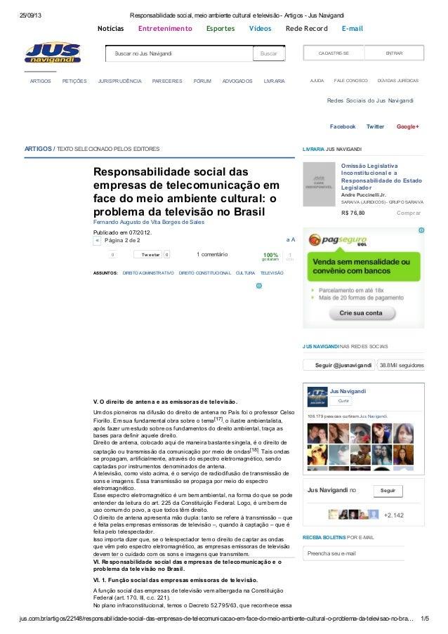 25/09/13 Responsabilidade social, meio ambiente cultural e televisão - Artigos - Jus Navigandi jus.com.br/artigos/22148/re...