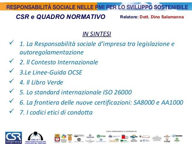 Responsabilità Sociale nelle PMI - Il Quadro Normativo in Italia