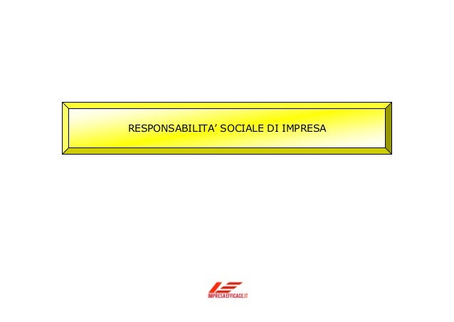Responsabilità sociale di impresa e strategia