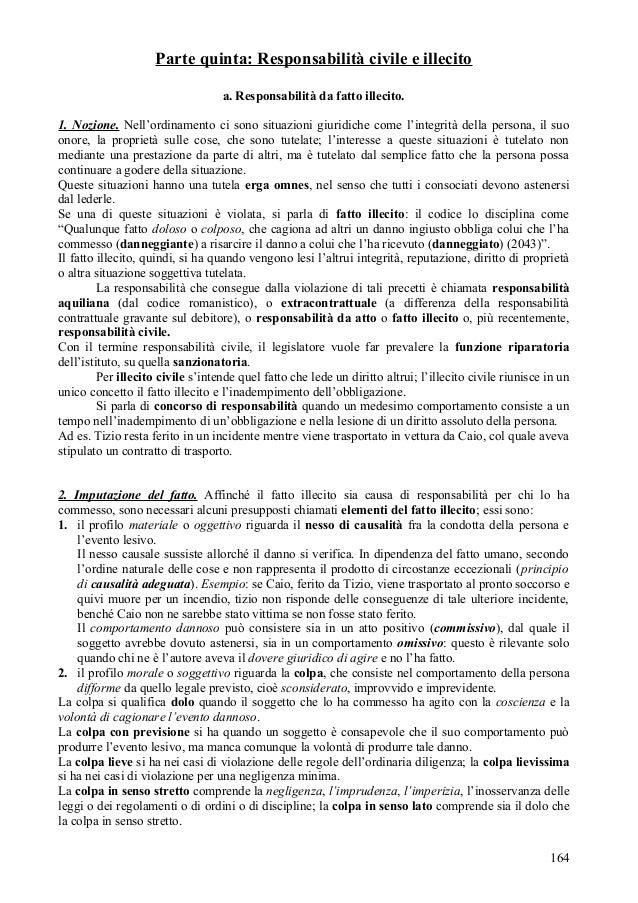 Parte quinta: Responsabilità civile e illecito                                   a. Responsabilità da fatto illecito.1. No...
