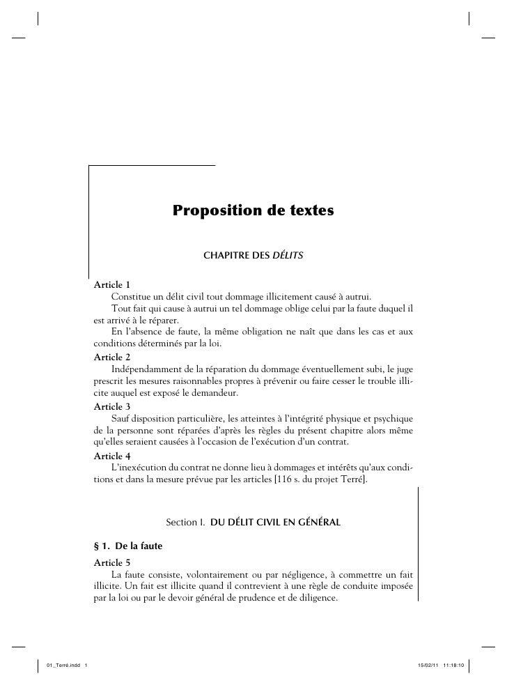 Proposition de textes                                                CHAPITRE DES DÉLITS                   Article 1      ...