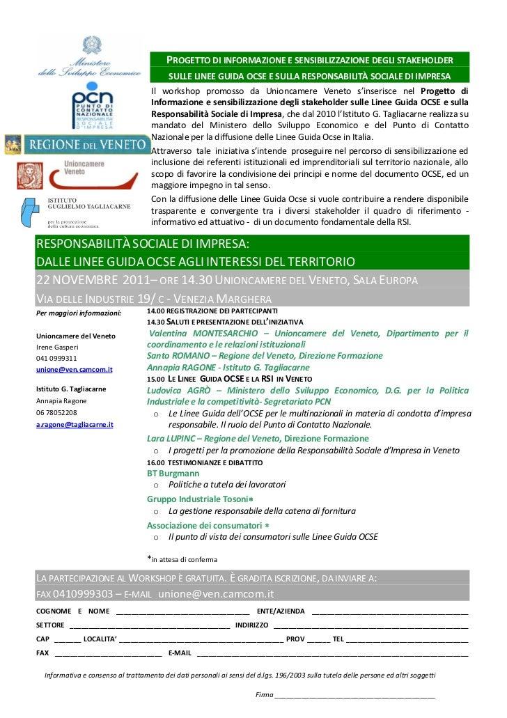 PROGETTO DI INFORMAZIONE E SENSIBILIZZAZIONE DEGLI STAKEHOLDER                                           SULLE LINEE GUIDA...