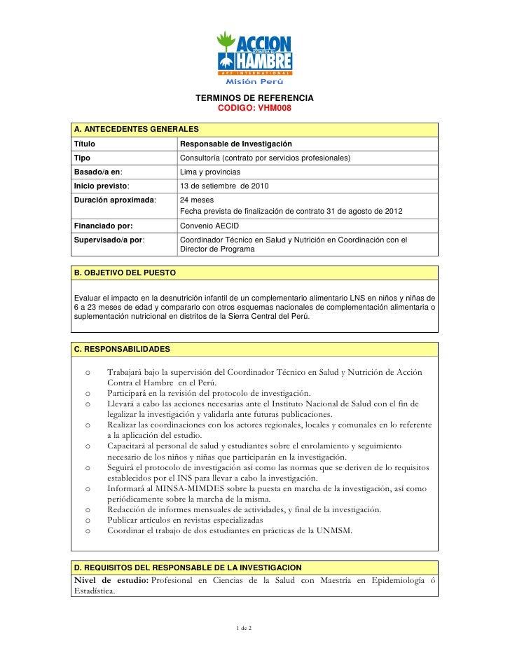 Misión Perú                                    TERMINOS DE REFERENCIA                                       CODIGO: VHM008...