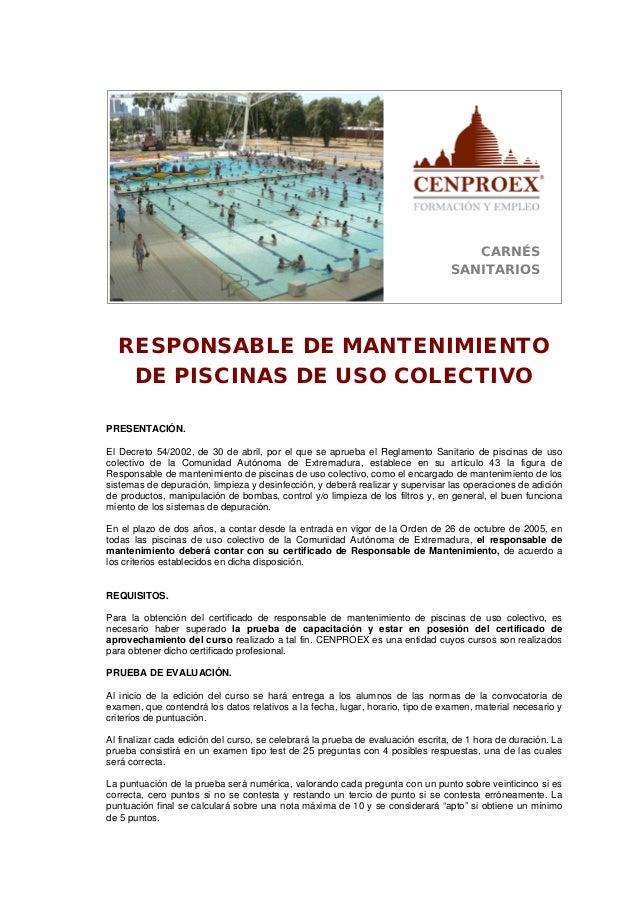 Responsable de mantenimiento de piscinas de uso colectivo for Mantenimiento piscinas pdf
