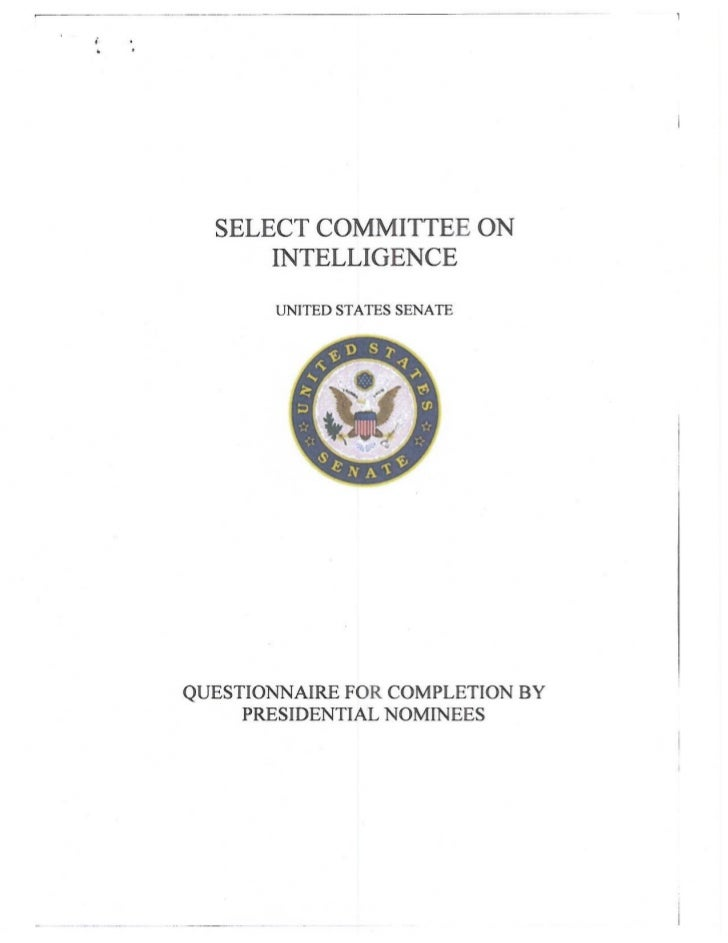 Responses to Questionnaire for Completion by Presidential Nominees