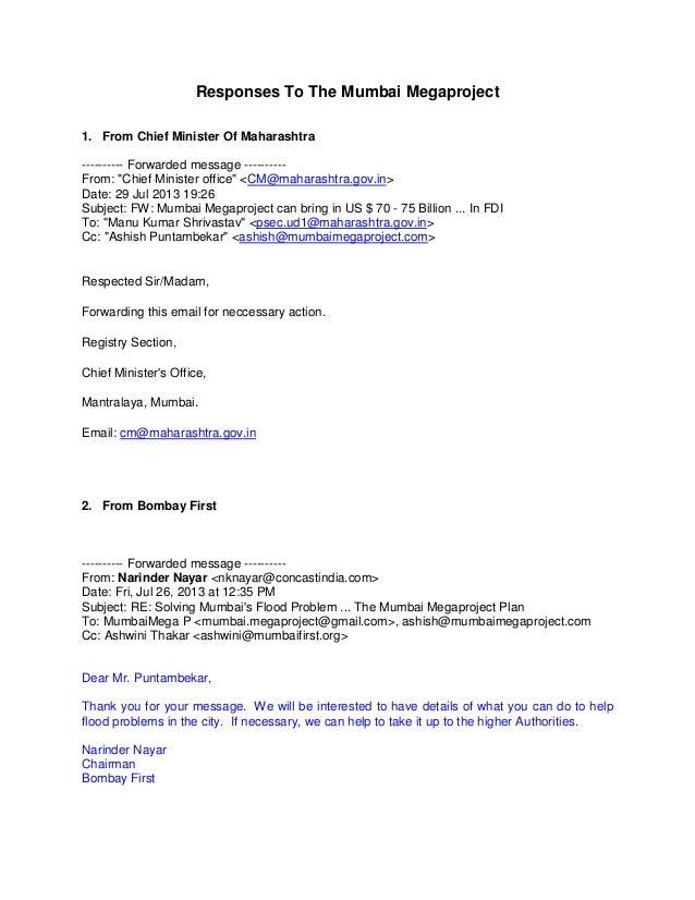 Responses to the mumbai megaproject cm maharashtra_and_mumbai_first