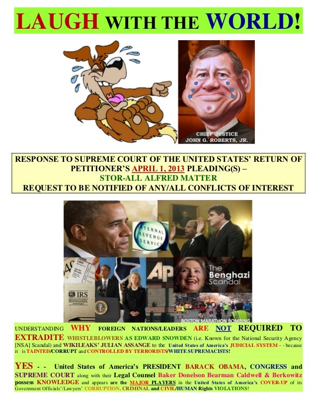 LAUGH WITH THE WORLD!  RESPONSE TO SUPREME COURT OF THE UNITED STATES' RETURN OF PETITIONER'S APRIL 1, 2013 PLEADING(S) – ...