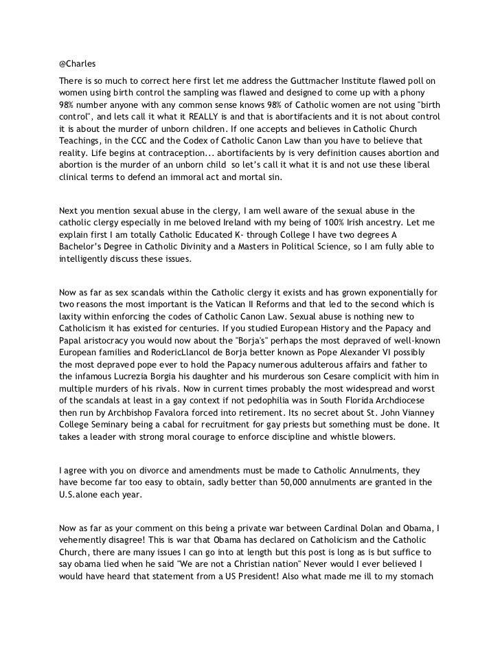 Response to charles at national catholic register