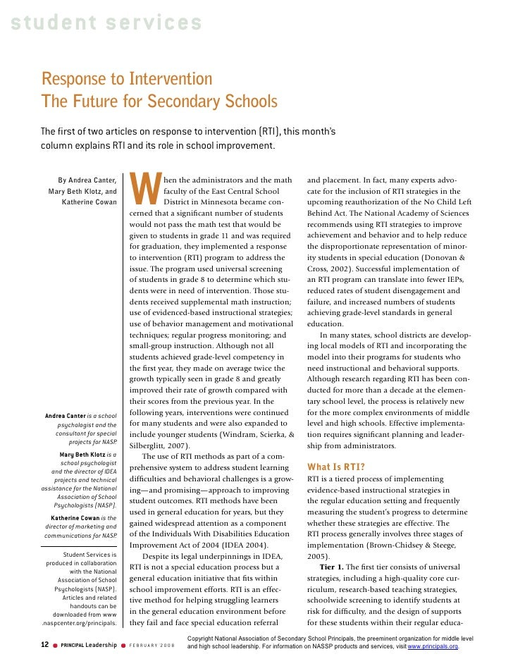 Response To Intervention   The Future For Secondary Schools