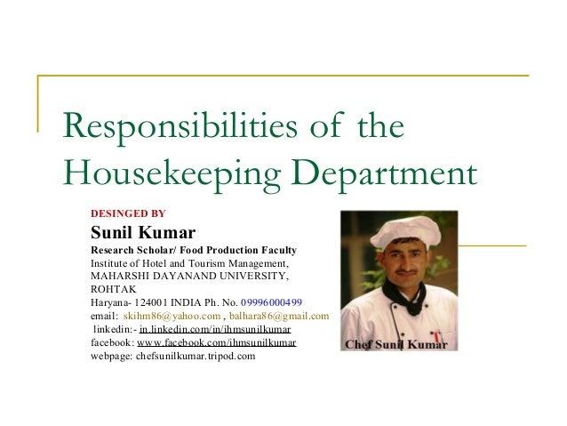 Responsibilities of the_housekeeping_department