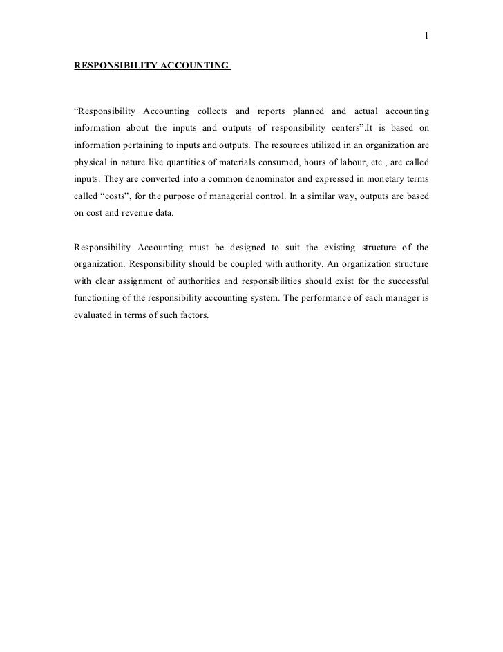 Responsibility-accounting
