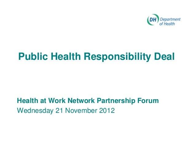 Public Health Responsibility DealHealth at Work Network Partnership ForumWednesday 21 November 2012