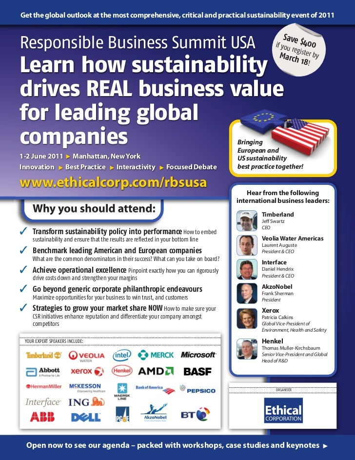 Get the global outlook at the most comprehensive, critical and practical sustainability event of 2011                     ...