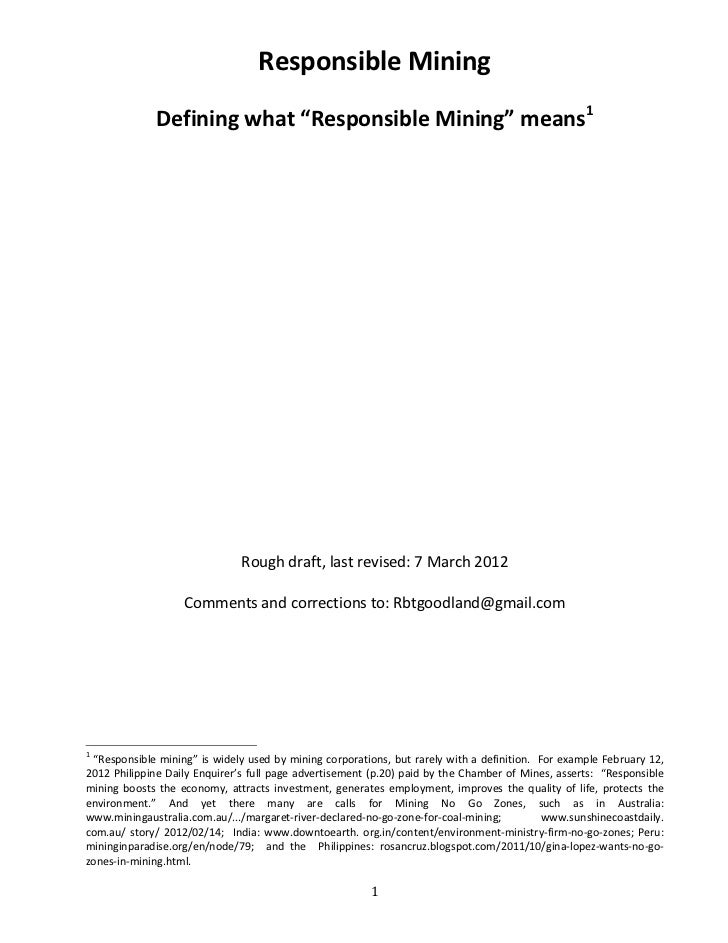 Responsible Mining by Robert Goodland (March 4, 2012)