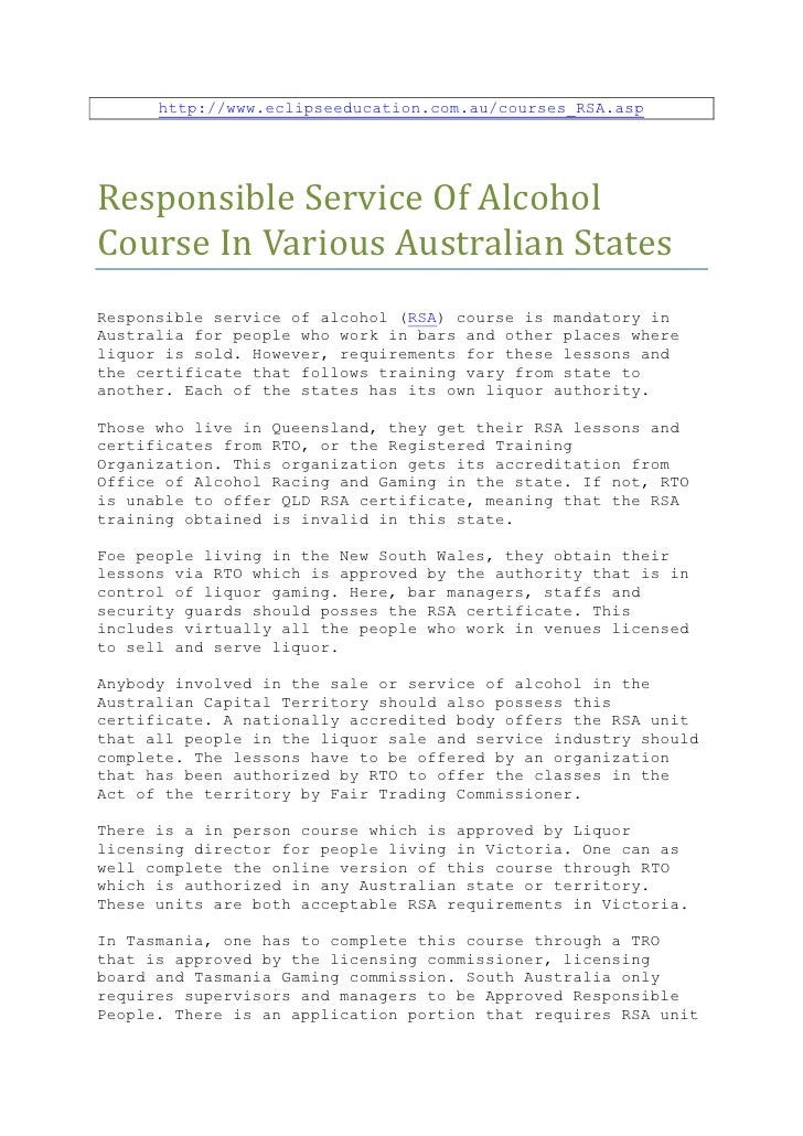 Responsible service of alcohol course in various Australian states