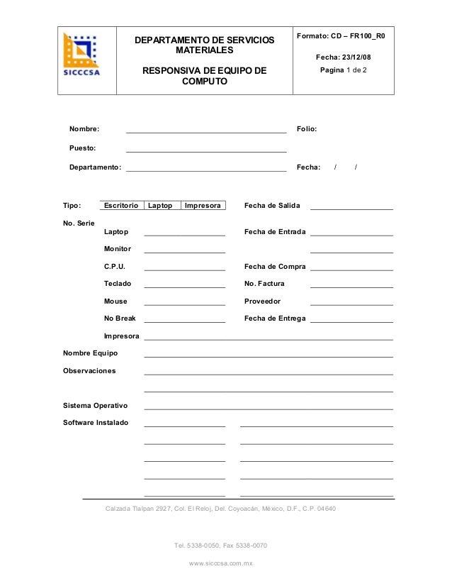 Formato para carta responsiva - colección de fotos aseguramiento ...