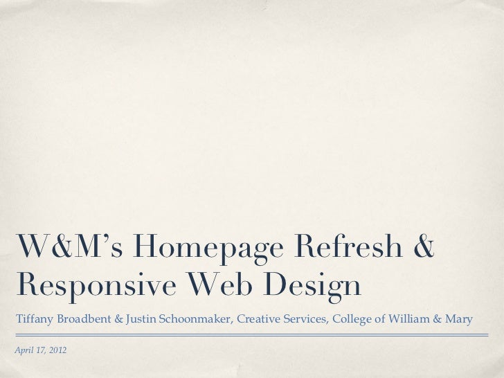 W&M's Responsive Design
