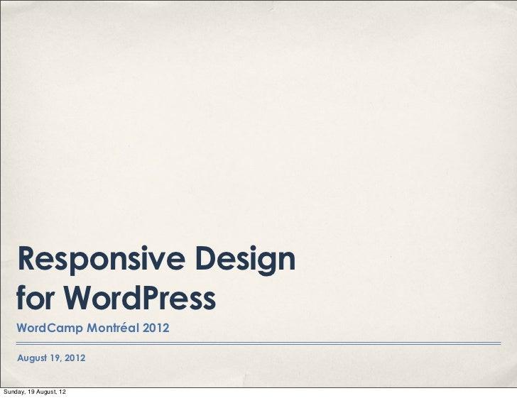 Responsive design for WordPress