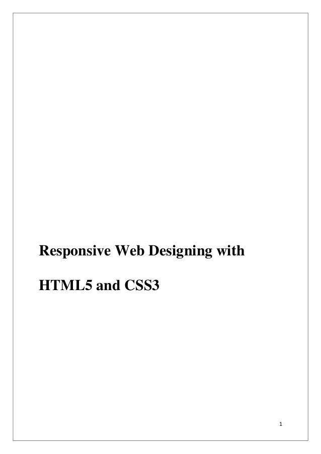 1 Responsive Web Designing with HTML5 and CSS3