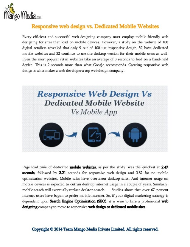 Copyright © 2014 Team Mango Media Private Limited. All rights reserved. Responsive web design vs. Dedicated Mobile Website...