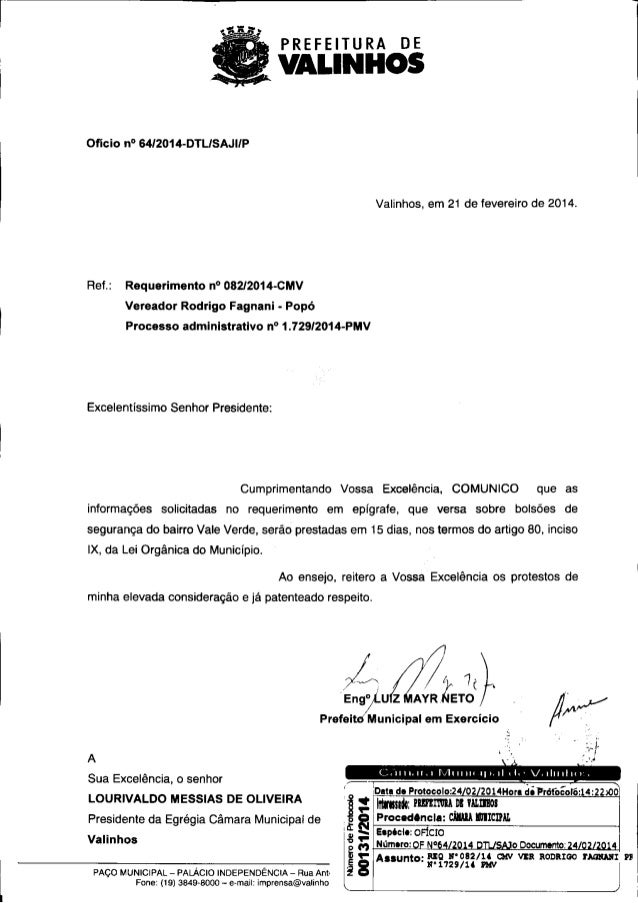 PREFEITURA  DE  VALINHOS  Ofício  n° 6412014-DTL/ SAJI/P  Valinhos, em 21 de fevereiro de 2014.  Ref.:  Requerimento  n°  ...