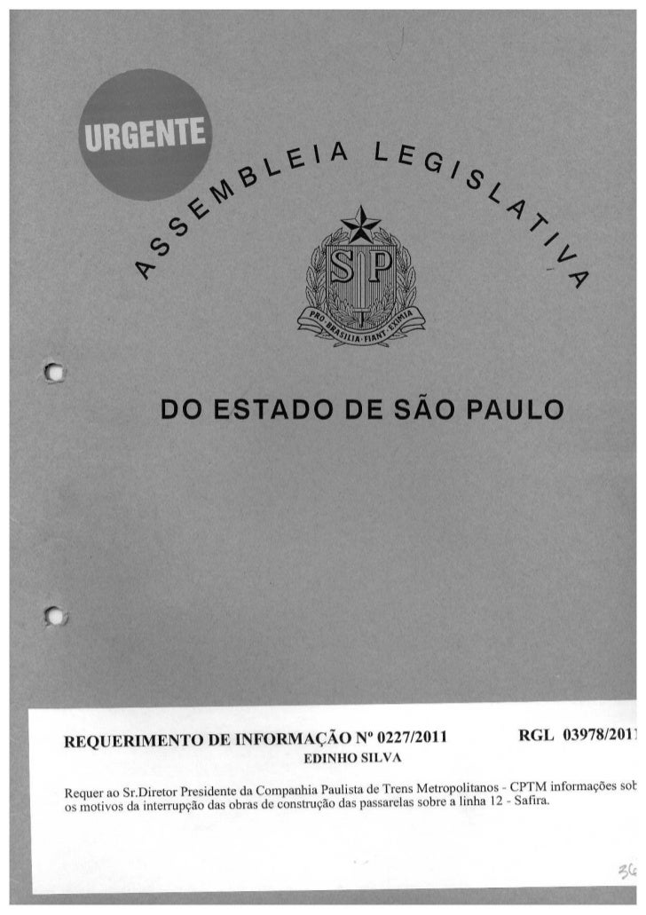 Resposta ao requerimento que solicita informações à Companhia Paulista de Trens Metropolitanos – CPTM