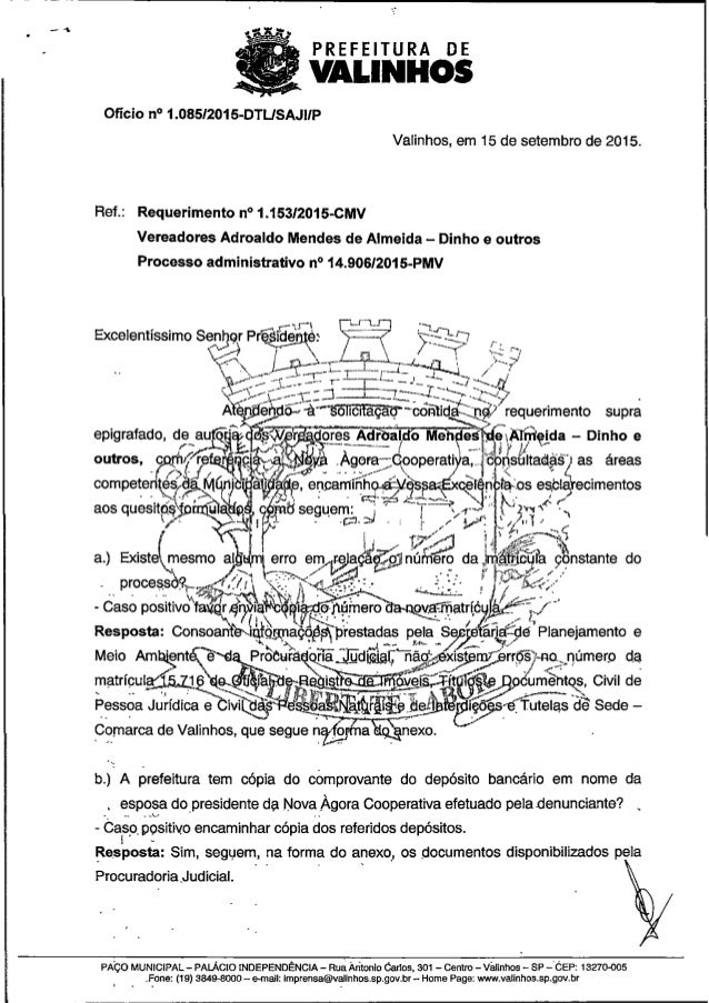 Resposta req. nº 1153 2015 (informações sobre ação civil pública impetrada em face da nova àgora cooperativa)