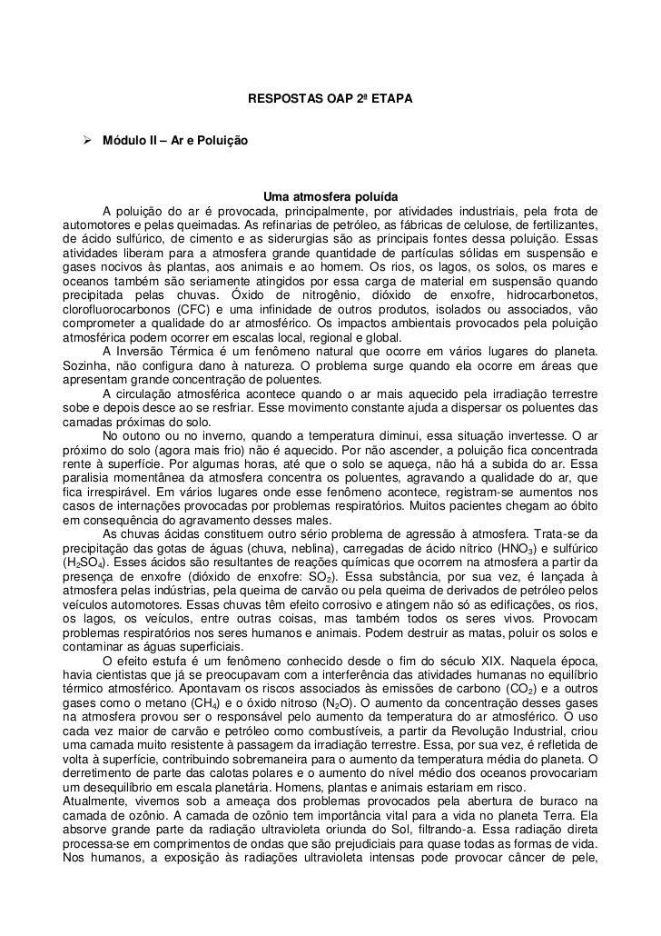 RESPOSTAS OAP 2ª ETAPA    Módulo II – Ar e Poluição                                      Uma atmosfera poluída         A ...
