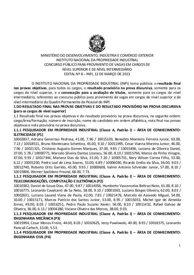 MINISTÉRIO DO DESENVOLVIMENTO, INDÚSTRIA E COMÉRCIO EXTERIOR                         INSTITUTO NACIONAL DA PROPRIEDADE IND...