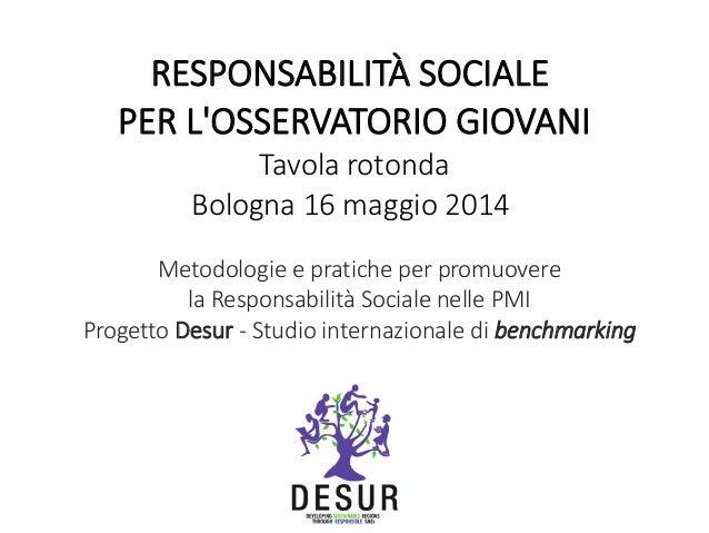 Metodologie e pratiche per promuovere la Responsabilità Sociale nelle PMI Progetto Desur - Studio internazionale di benchm...