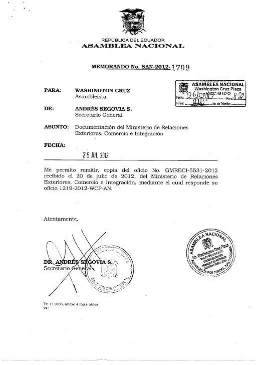 Respuesta de la señora Embajadora del Ecuador en España, lic. Aminta Buenaño ante el requerimiento del Asambleísta por lo0...