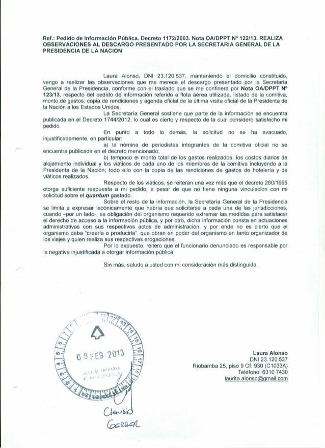 Ref.: Pedido de Información Pública. Decreto 1172/2003. Nota OAIDPPT N° 122/13. REALIZAOBSERVACIONES AL DESCARGO PRESENTAD...