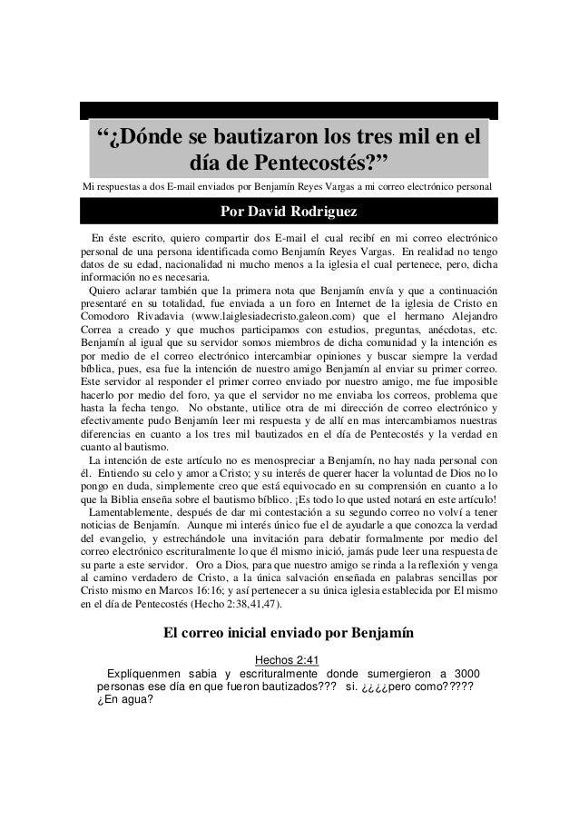 Respuestas Sobre el Bautismo en Hch. 2.