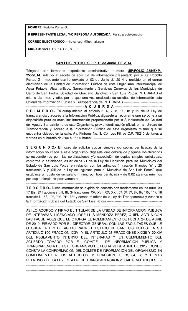 Respuesta a Solicitud de Estudios de Calidad de Agua, Municipio San Luis Potosi, México  Junio 2014