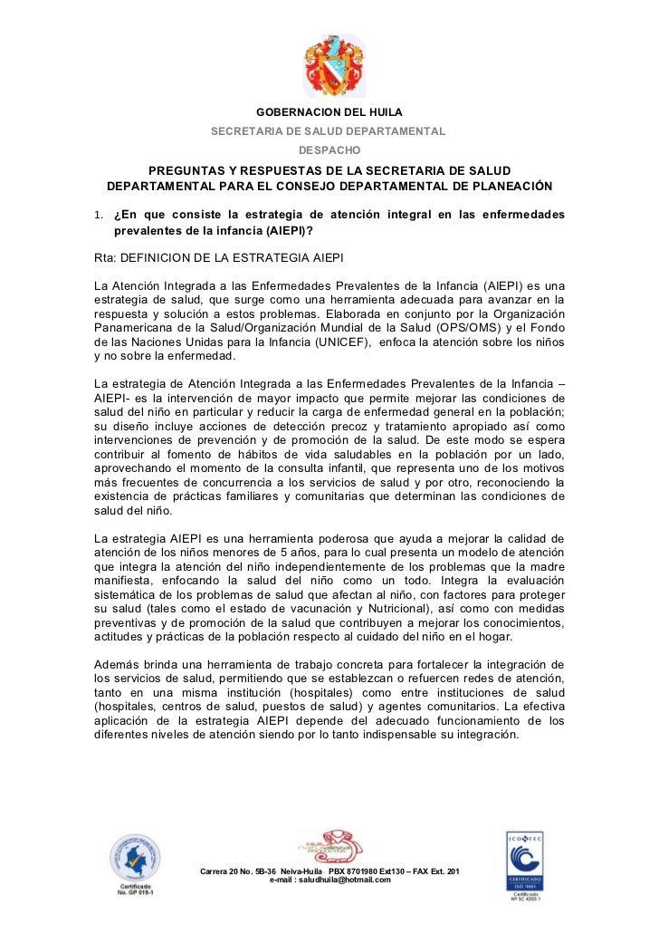 GOBERNACION DEL HUILA                     SECRETARIA DE SALUD DEPARTAMENTAL                                            DES...