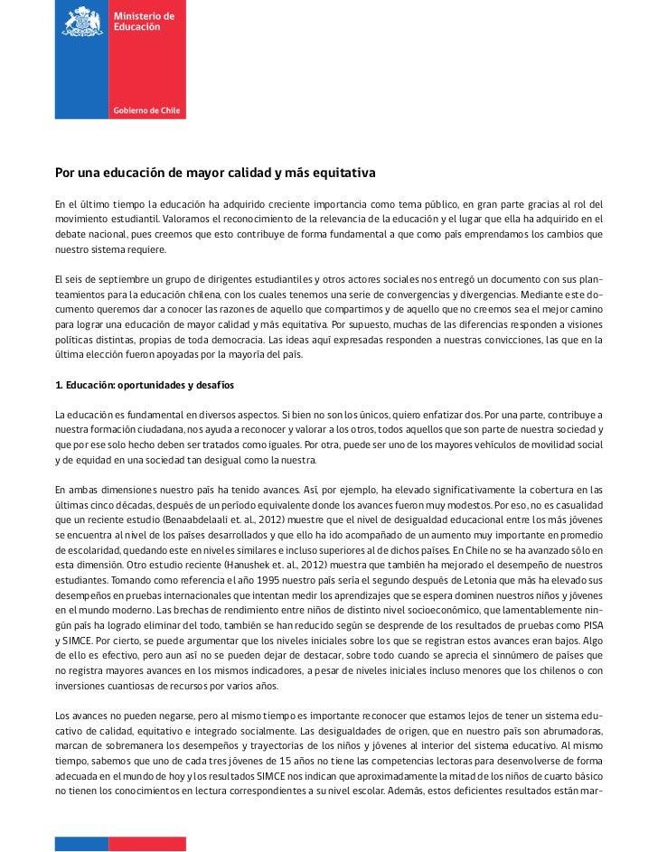 Respuesta del ministerio de educación a las demandas septiembre 2012