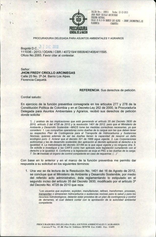 1  • I'  I  SALIDA Nro.: 168911 Fecha: 12-12-2013 JHON FRiOr CRIOLLO AHCINIEGAS PERSORA NATURAL CALLE 20 U-31 HARRIO LOS A...