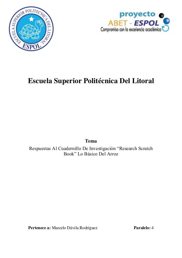 """Escuela Superior Politécnica Del Litoral                              TemaRespuestas Al Cuadernillo De Investigación """"Rese..."""