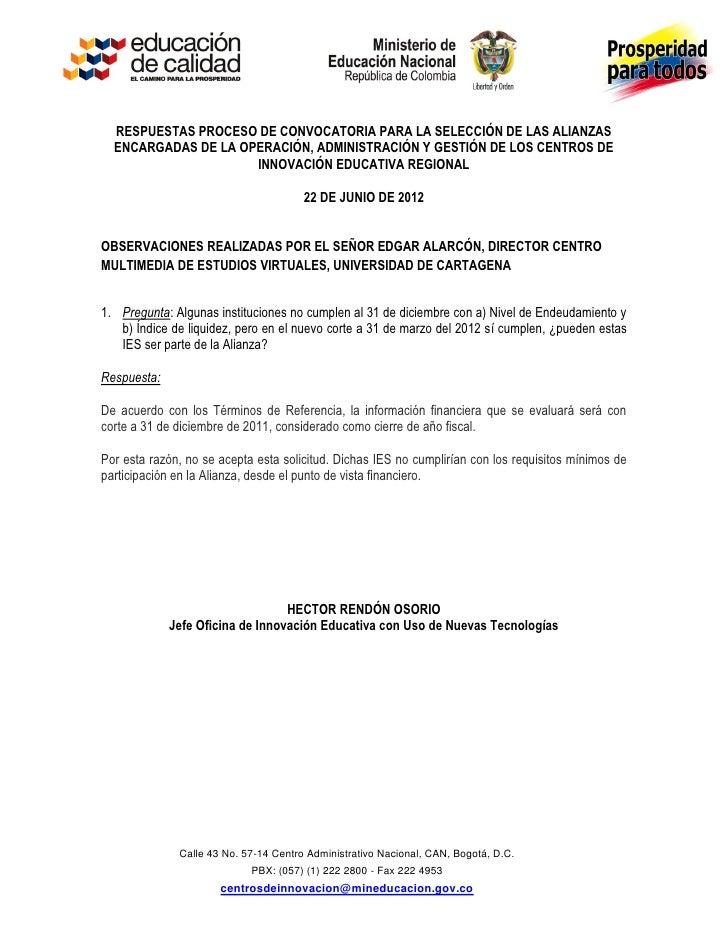 Respuestas inquietudes    convocatoria centros de innovacion iii