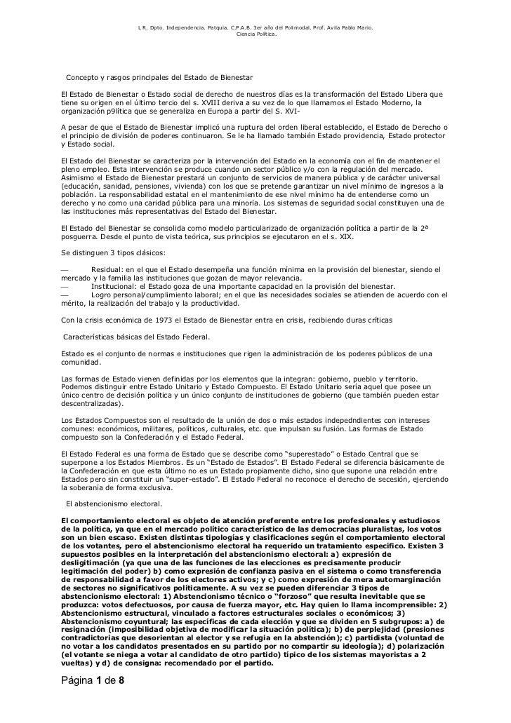 L R. Dpto. Independencia. Patquia. C.P.A.B. 3er año del Polimodal. Prof. Avila Pablo Mario.                               ...