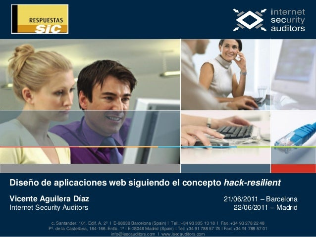 Diseño de aplicaciones web siguiendo el concepto hack-resilient. Respuestas SiC