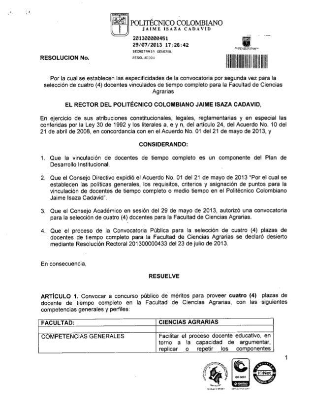 Convocatoria vinculación docente Facultad de Ciencias Agrarias