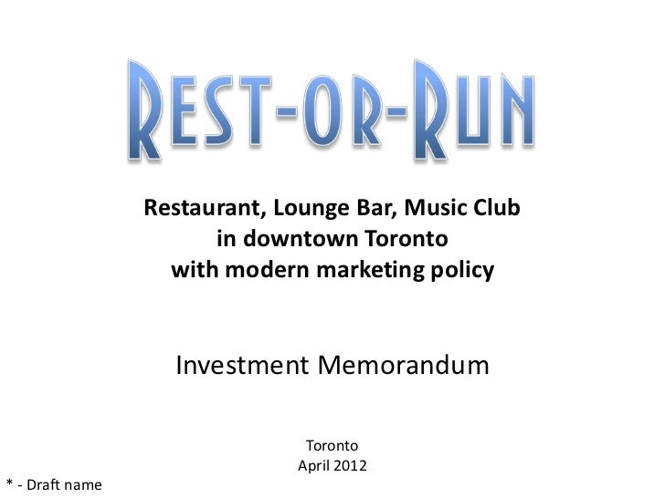 Looking for a partner to open the restaurant in Toronto