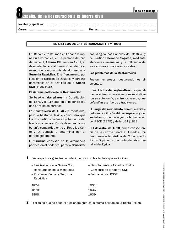 8   España, de la Restauración a la Guerra Civil                                                                          ...