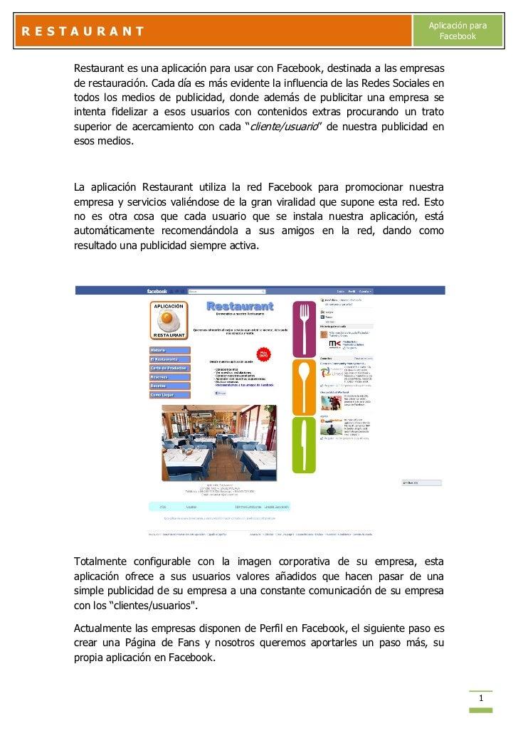 Aplicación paraRESTAURANT                                                                        Facebook    Restaurant es...